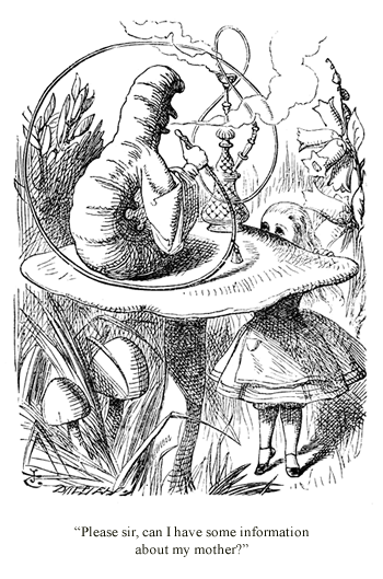 Advice from a Caterpillar - Illustration by John Tenniel, Alice in Wonderland by Lewis Carroll